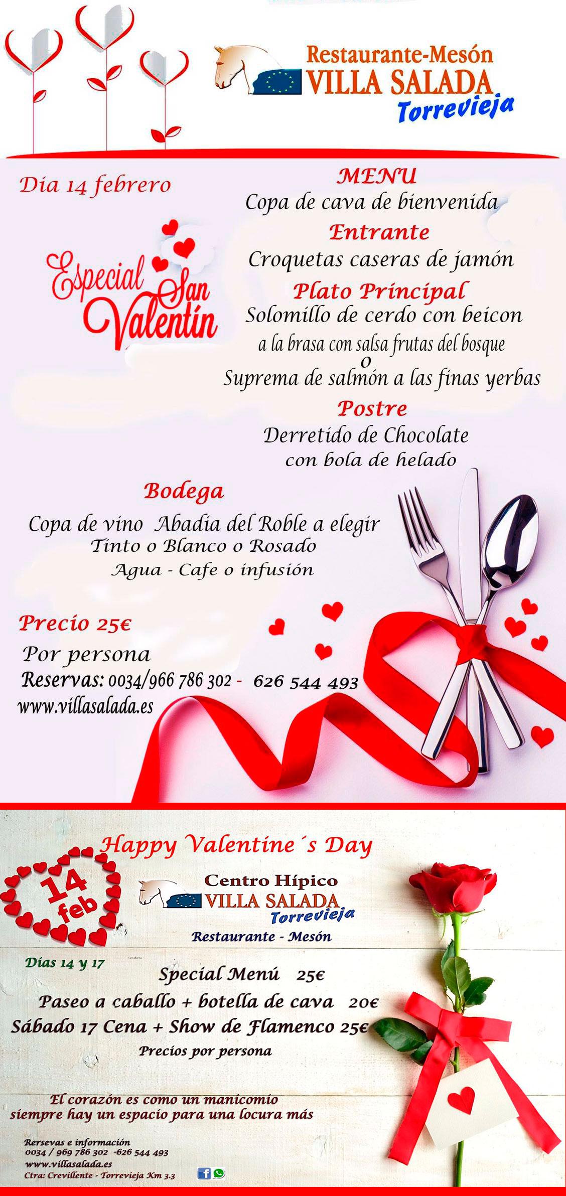 Menu Dia San Valentin 2018 Restaurante Villasalada Torrevieja  ~ Menu Para Cena Con Amigos En Casa