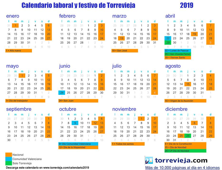 Calendario de fiestas Torrevieja 2019