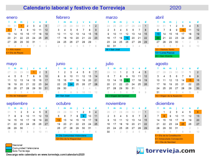 Torrevieja Bank Holidays 2020