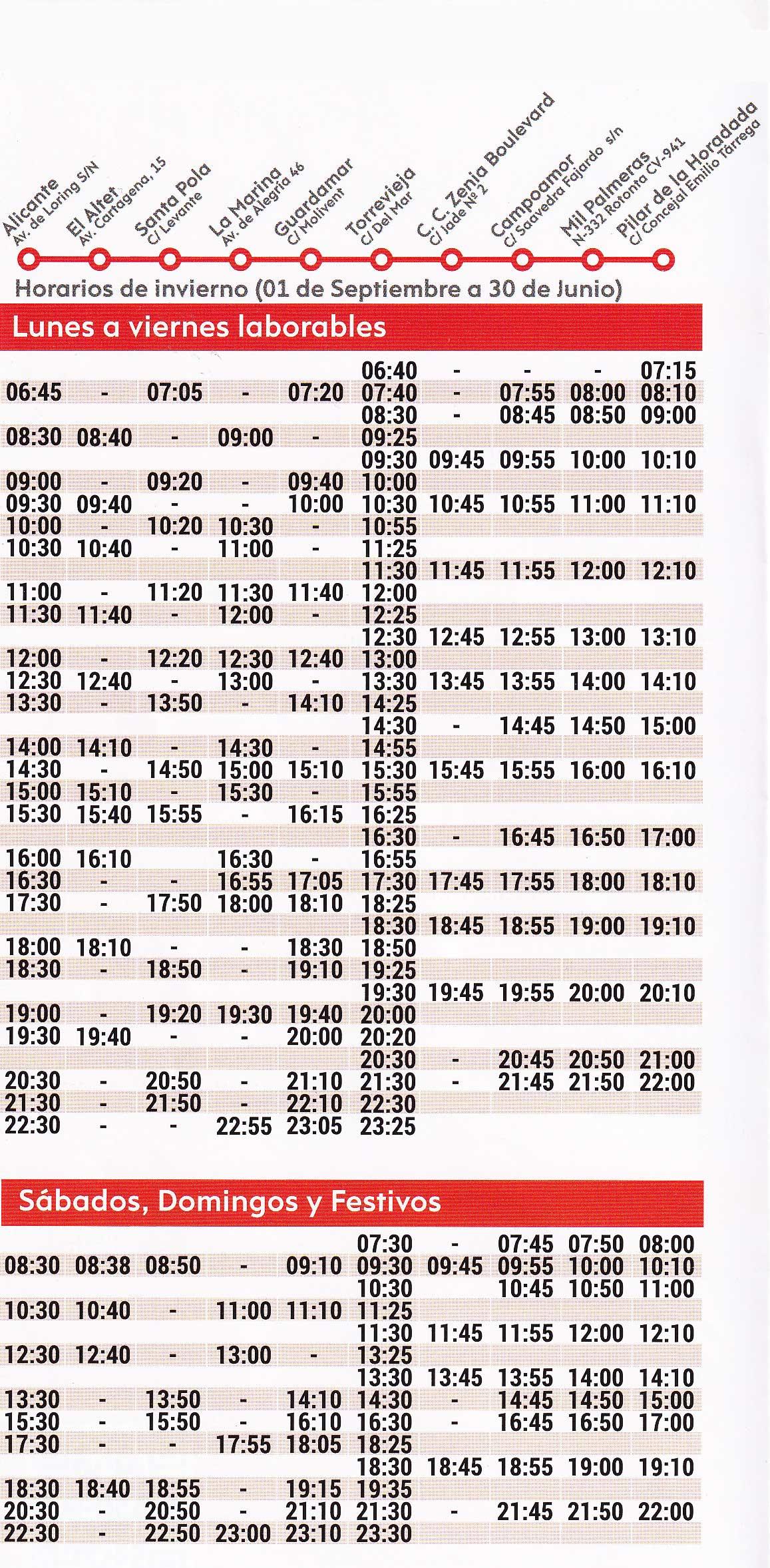 Horario-de-autobuses-de-Alicante-a-Torrevieja-Invierno