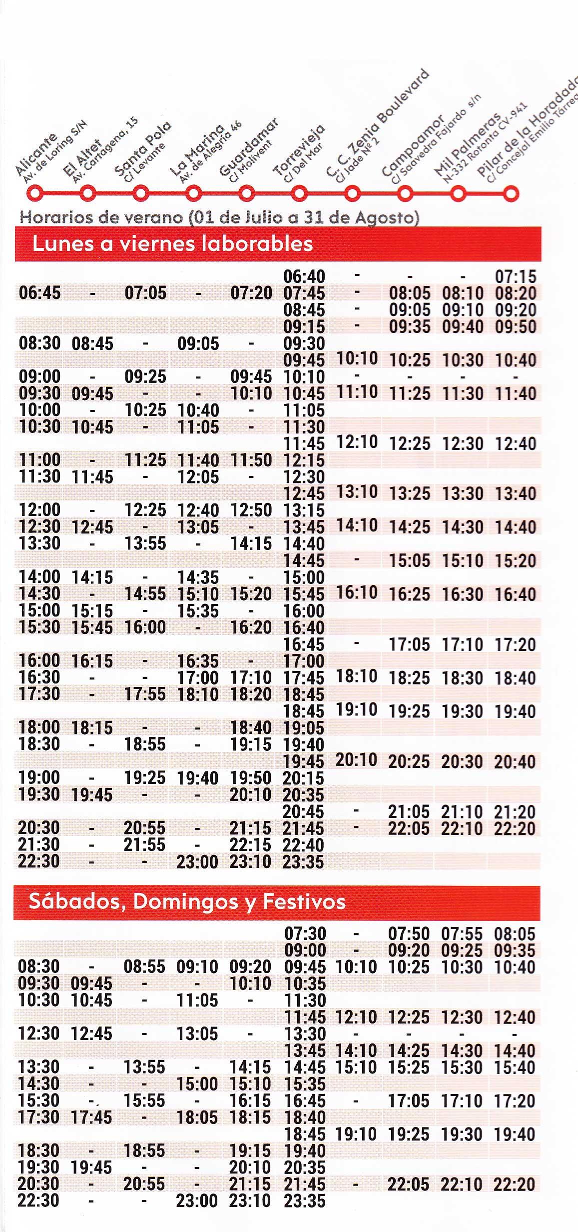Horario-de-autobuses-de-Alicante-a-Torrevieja-Verano