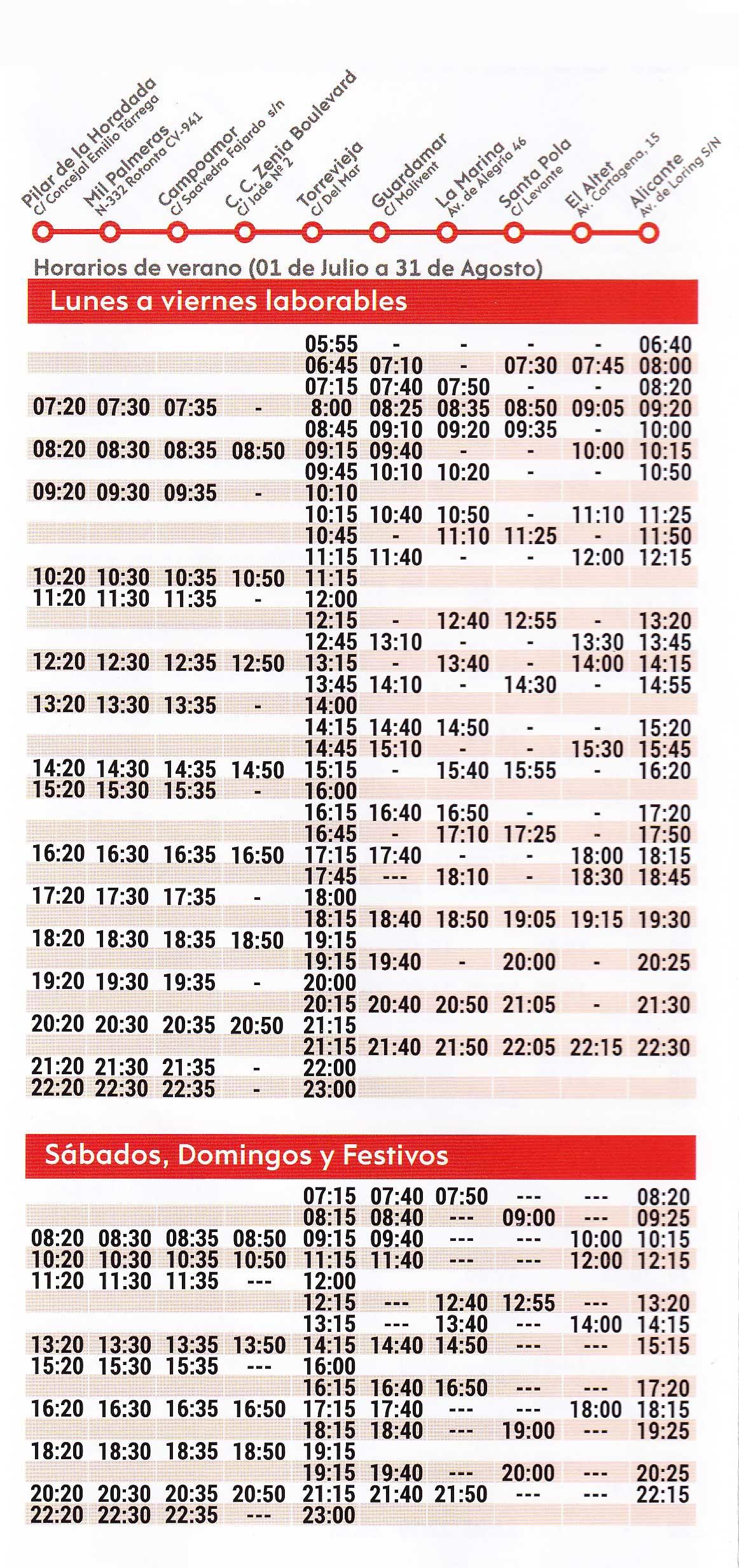 Horario-de-autobuses-de-Torrevieja-a-Alicante-Verano