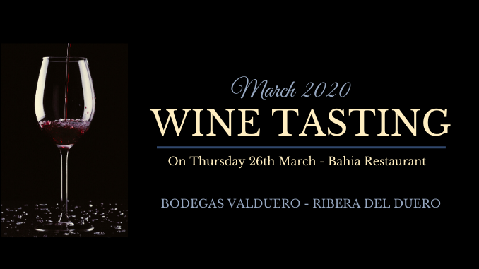 cata de vinos wine tasting Bahia Restaurant Torrevieja March 2020 ENG