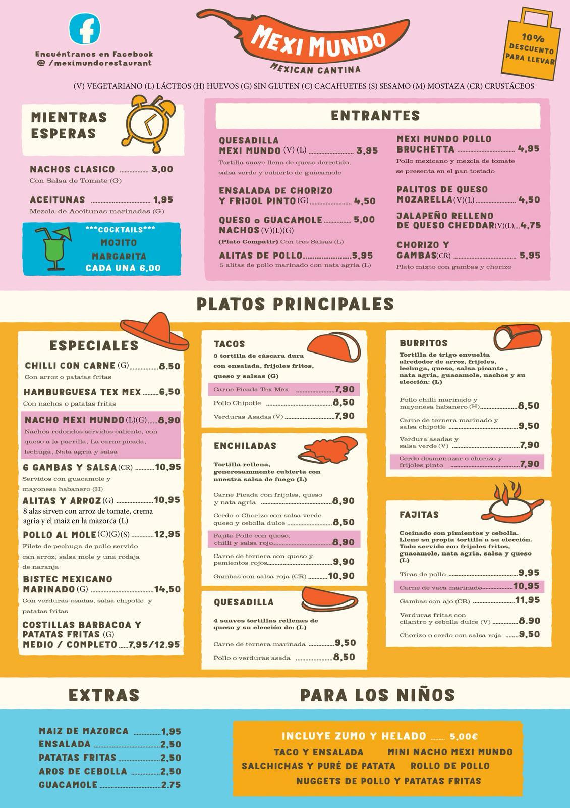 Carta Menu Restaurante Mexicano Mexi Mundo Torrevieja