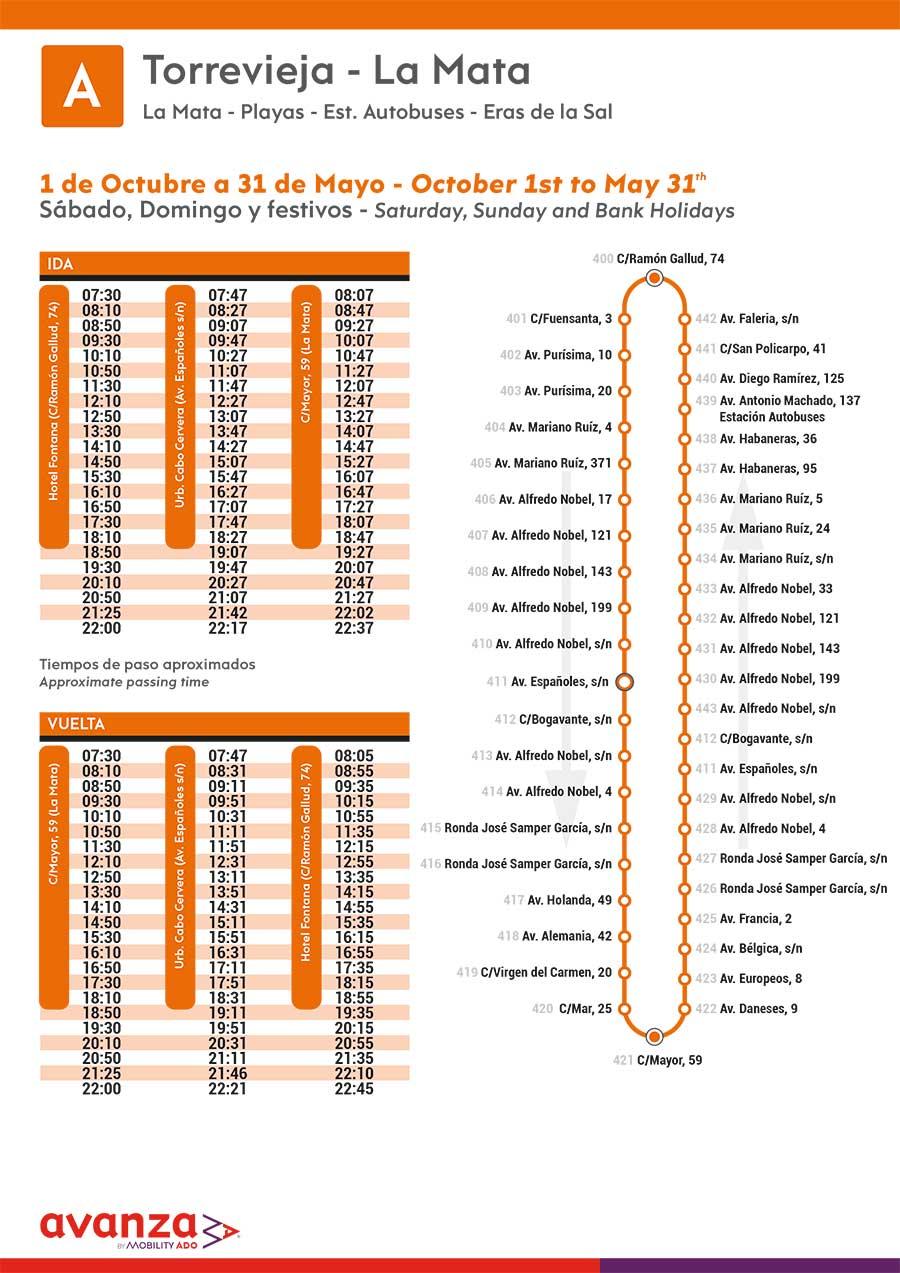 Línea-A_Autobus-Torrevieja-La-Mata-de-octubre-a-Mayo-2020-Sabados-Domingos-festivos-Bus-Timetable
