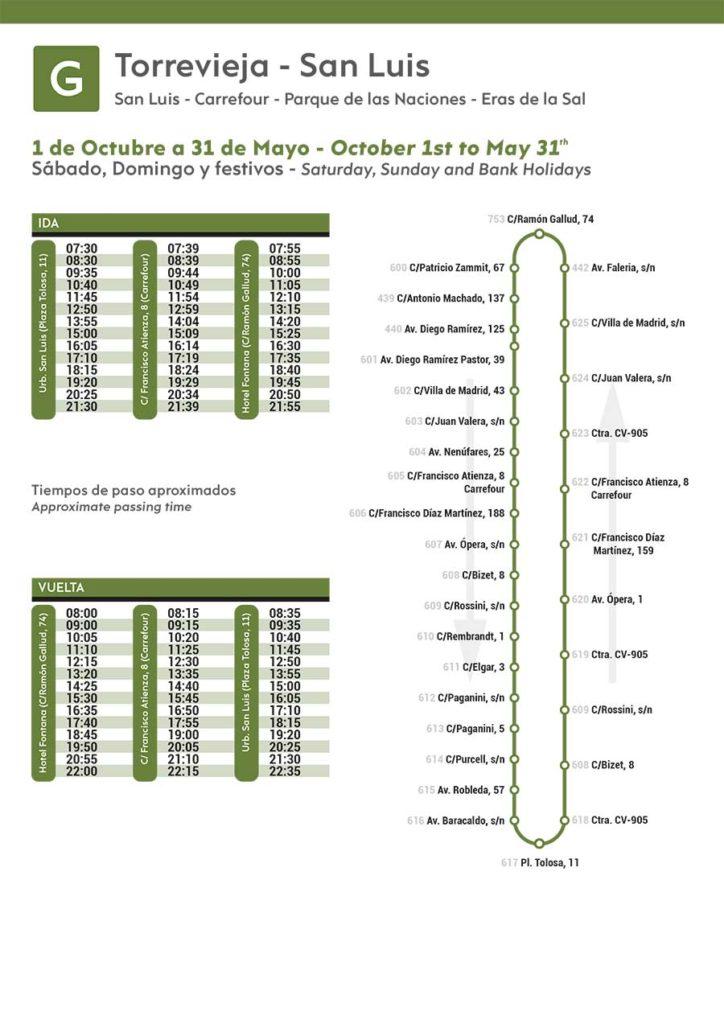 Línea-G-Autobus-Torrevieja-de-octubre-a-Mayo-2020-Sabados-Domingos-festivos-Bus-Timetable