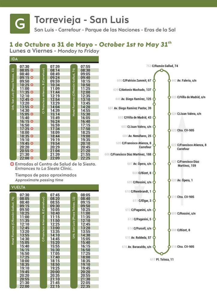 Línea-G_Autobus-Torrevieja-de-octubre-a-Mayo-2020-de-lunes-a-viernes-Bus-Timetable