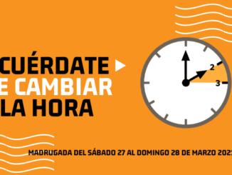 Cambio de hora el Sábado 27 de MARZO 2020