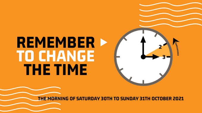 Time to change your clocks Saturday October 30th 2021